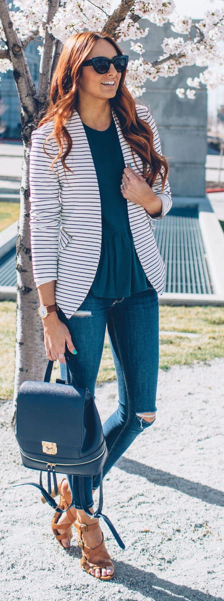 Striped Blazer Outfit Idea by LITTLE J STYLE
