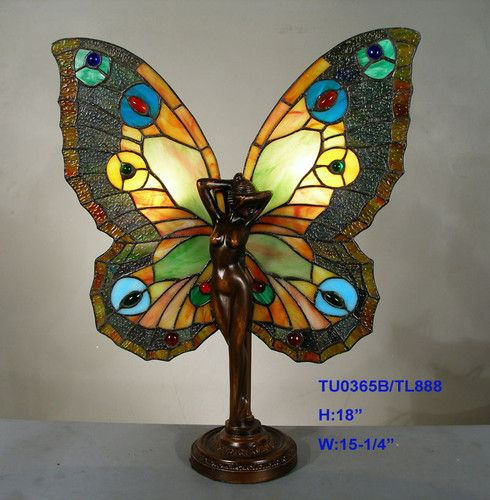 Tiffany Stained Glass Leadlight Amber Butterfly Fairy Accent Table Lamp Light | eBay