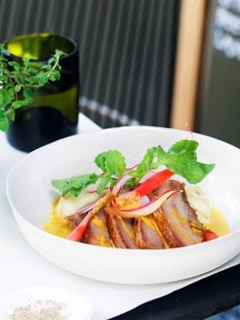 Pork cheek, potato purée and radish