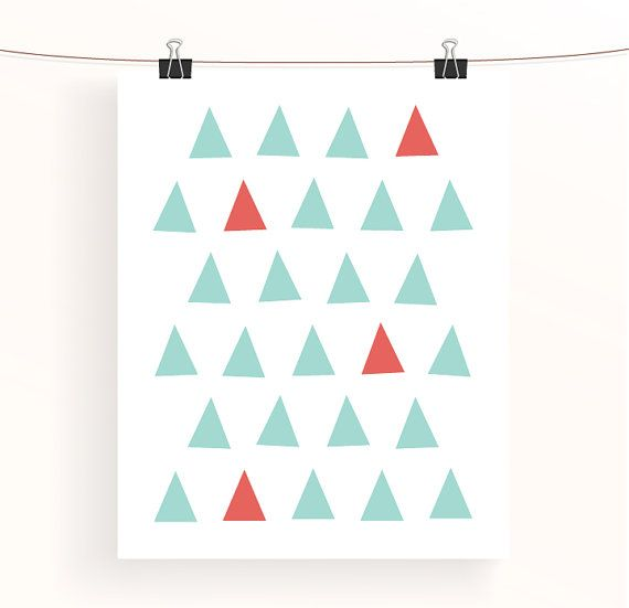 Abstract geometric print  mint and coral triangles, £6.00