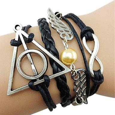 Meerlaagse, handgemaakte leren armbandjes met engelenvleugels, Harry Potter relieken en oneindigheidssymbool       - EUR € 1.65