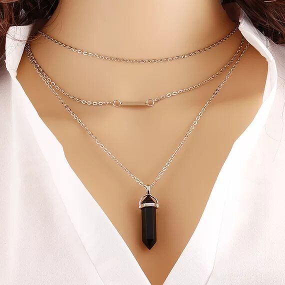 simple black stone chain necklace