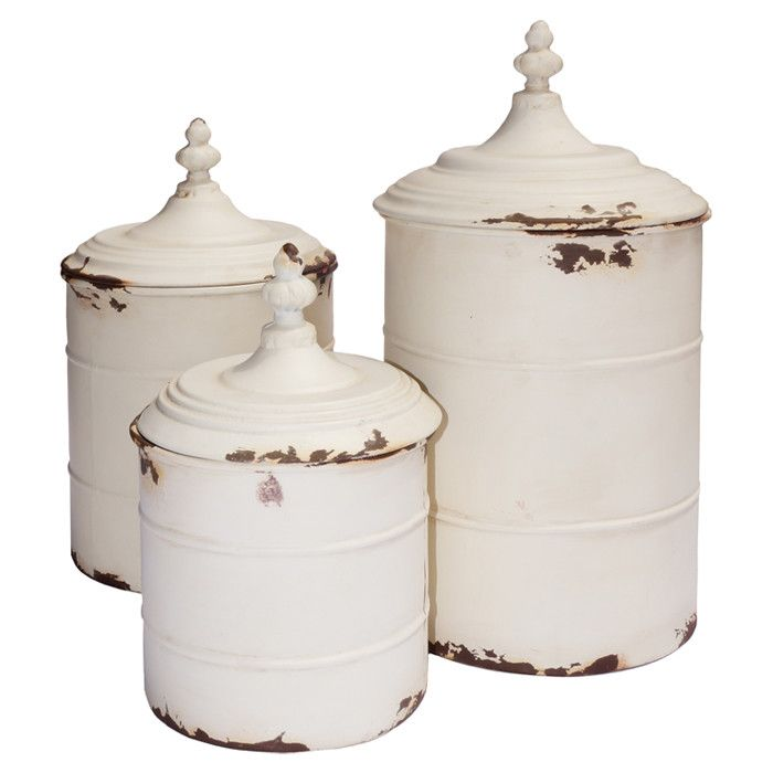 Set Of 3 Metal Canisters In Antique White. Product: Small, Medium And Large  CanisterConstruction Material: MetalColor: Antique WhiteDimensions: H X  Diameter ...