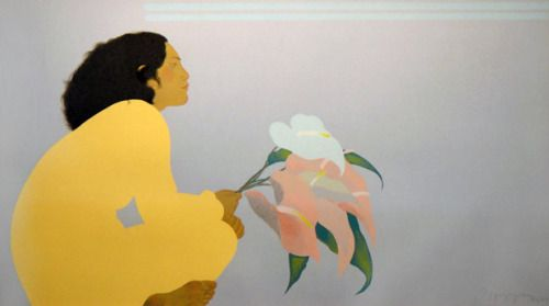 Pegge Hopper, Untitled (Woman with Anthuriums)