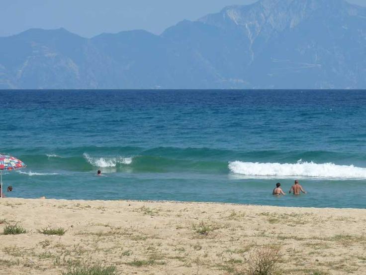 Sarti beach, Sithonia, with view of Mount Athos