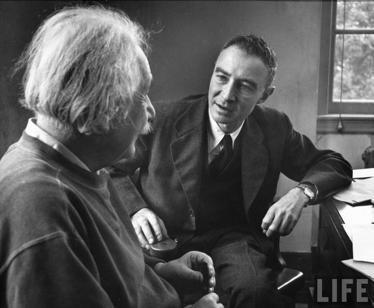 Robert Oppenheimer visiting Alfred Einstein at Princeton - 1947 - photo by Alfred Eisenstaedt