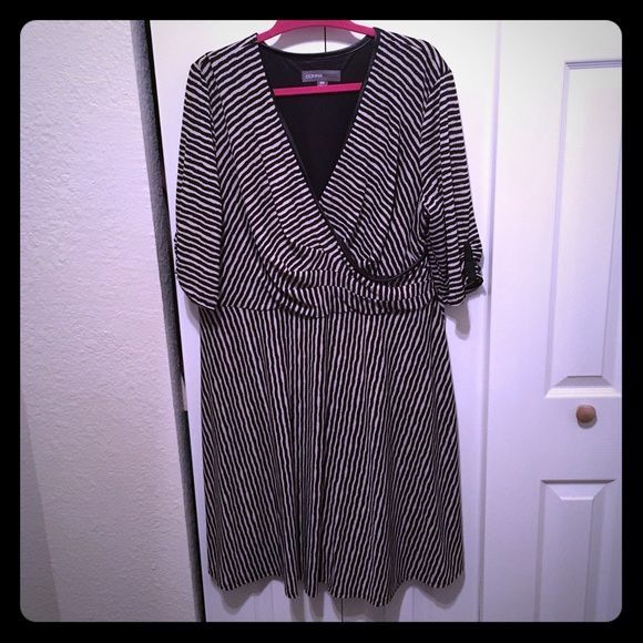 Plus size striped dress This is a gorgeous striped dress.  3/4 length sleeves, slight high low hem and leather accents.  It is a nice heavy material with a sheer overlay.  Very well made.  Worn 1 time.  Bought at Nordstrom.  Let me know if you have any questions about it.   Donna Ricco Dresses