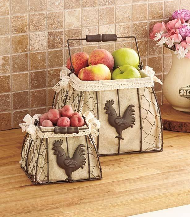 set of 2 lined rooster baskets for kitchen vegetables fruit bathroom home decor - Kitchen Decor Sets
