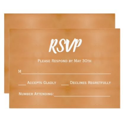 Trendy Copper & White Wedding RSVP Reply Card - gold wedding gifts customize marriage diy unique golden