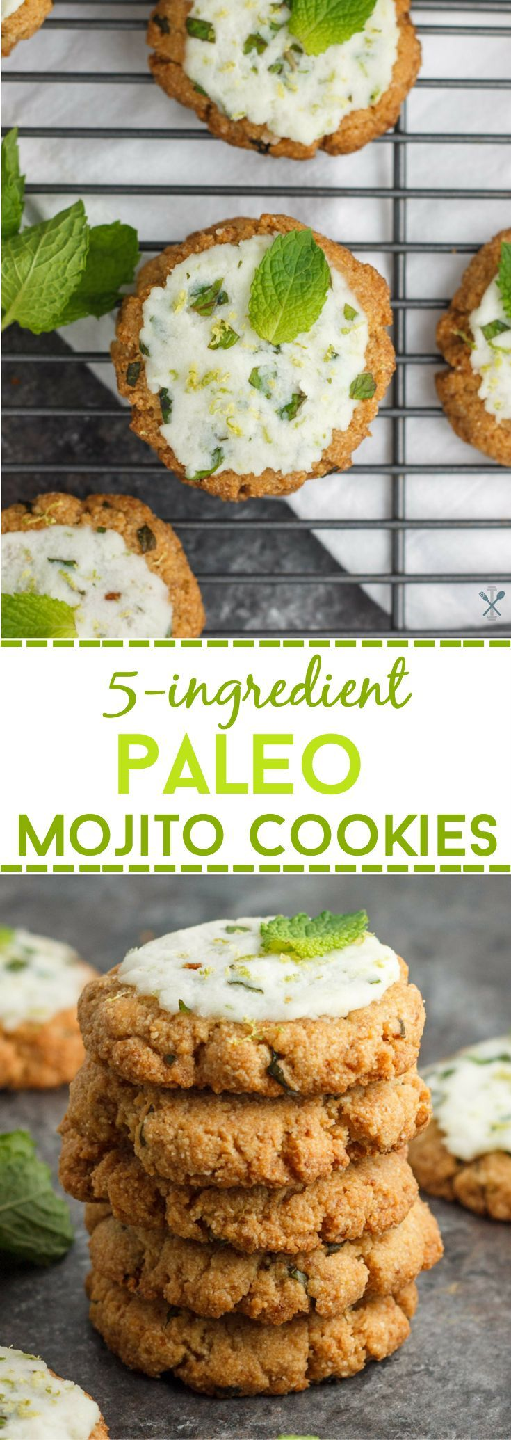 These 5-ingredient paleo mojito cookies are egg free, gluten free, and burning with hints of mint and lime - just like the classic mojito drink!