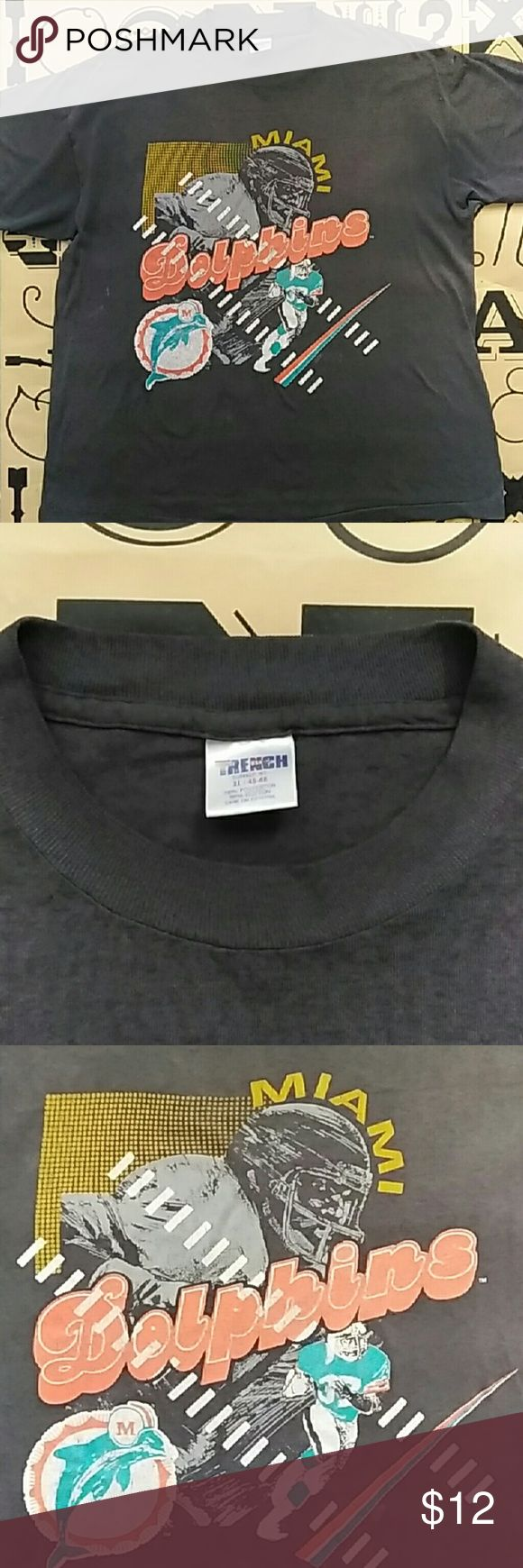 Distress Miami Dolphin T-shirt Distress Miami dolphin T-shirt size xl Trench Shirts Tees - Short Sleeve
