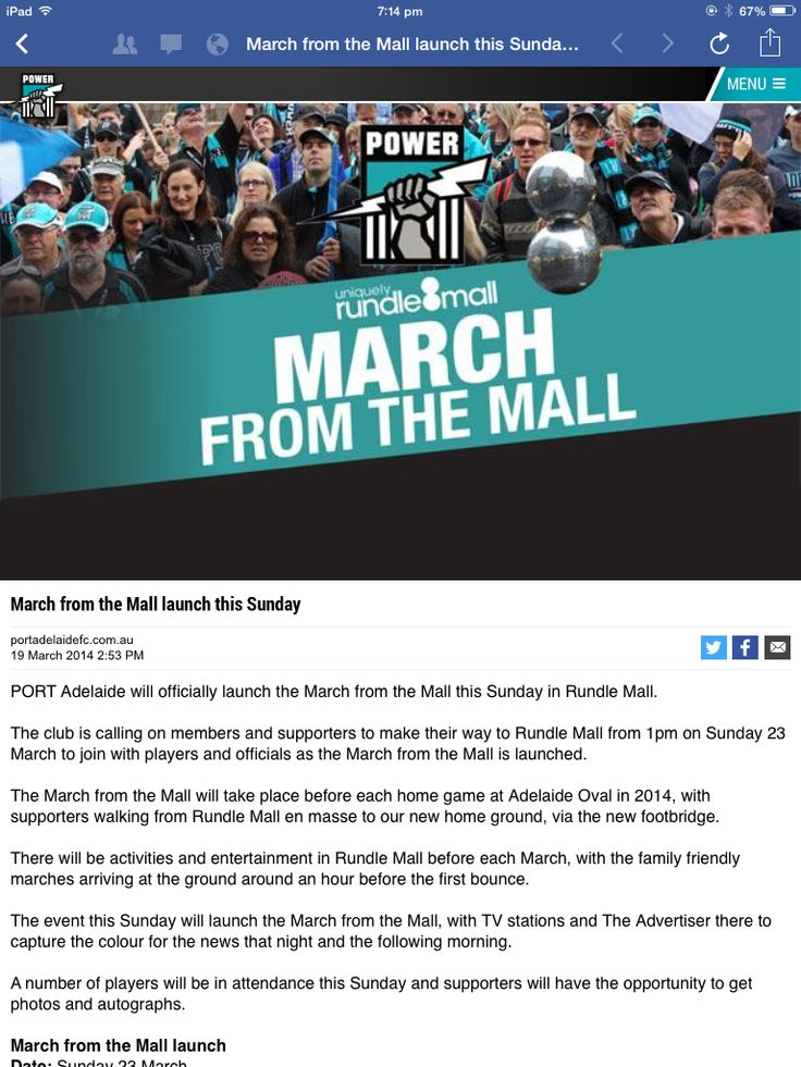 Port Adelaide have a 'March to the Mall' fan campaign