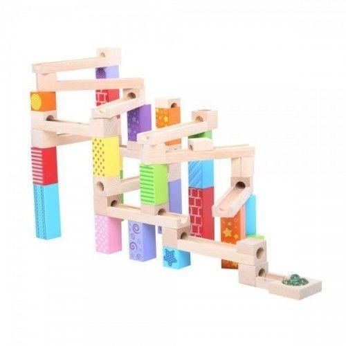 Drewniany kolorowy kulodrom - ciekawa zabawka dla maluszków