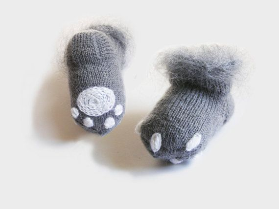 Baby  gray socks Soft baby booties Knitted socks by Cozychic99