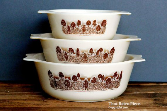 "JAJ Pyrex ""Rustic"" casserole dishes set of three by ThatRetroPiece, $45.00"