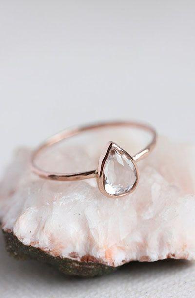 White topaz rose gold ring