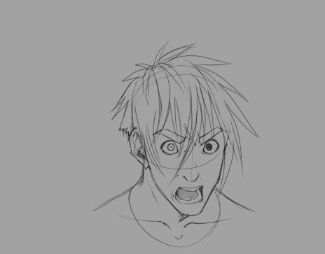 """I AM MAD!"" 14 frame sorta rough animation practice with expressions (this issue; angry/regretful)"
