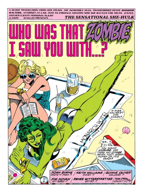 """At the Beach in Sensational She-Hulk Vol.1 #34 (1991) """"Who Was That Zombie I Saw You With…?"""" - John Byrne, Inks: Keith Williams, Colors: Glynis Oliver"""