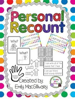 This kit has it all everything you will need for your Personal Recount unit. Have your students writing about personal experiences, while self and peer assessing, using checklist and creating goals to improve their work. Included in this set: - a variety of writing templates (large picture/few lines, med picture/med lines, all lines, booklets etc.) - learning goals and success criteria posters - rubric for Grade 1 first term, but it could be adapted for different times of the year - arrows…