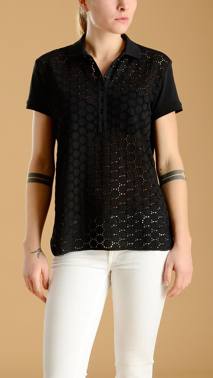 Short sleeve,black polo shirt featuring a seven button placket and a broderie anglaise front panel, 100�0cotton.