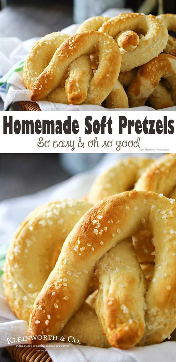 If you love a giant, delicious & chewy pretzel you will fall in love with these Homemade Soft Pretzels. Great for parties, tailgating snacks, BBQ's & more. on kleinworthco.com