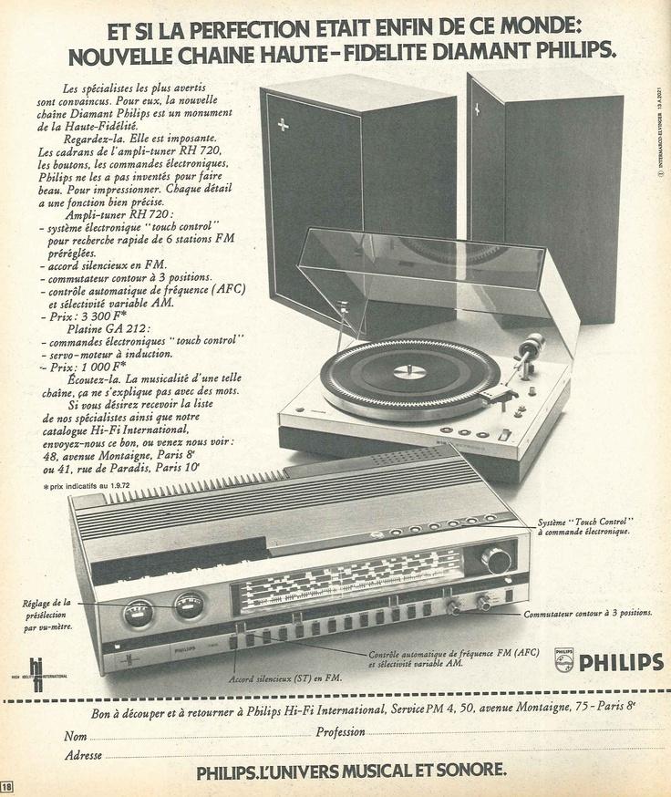 Chaîne Hi-Fi Philips - Paris Match n°1231 du 9 décembre 1972.