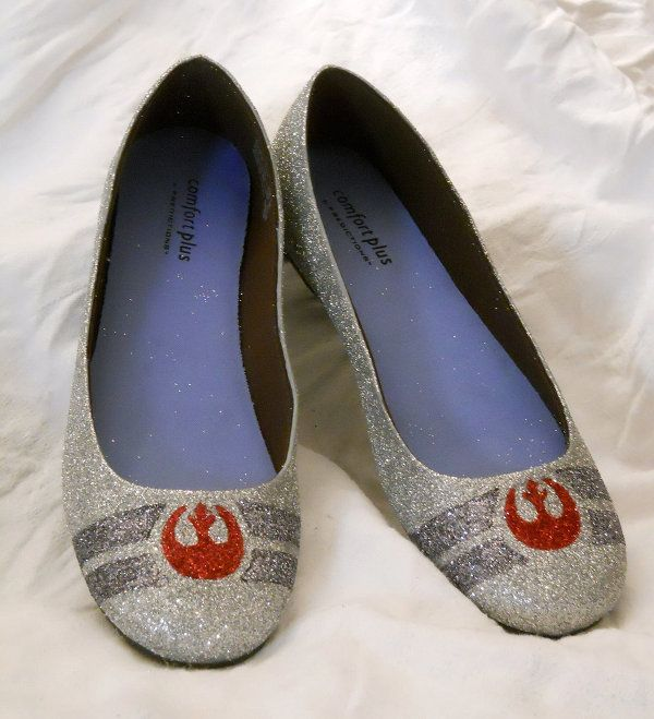 """Rebel Alliance Star Wars Glitter Shoes"" by Catherine Gretschel; $70"