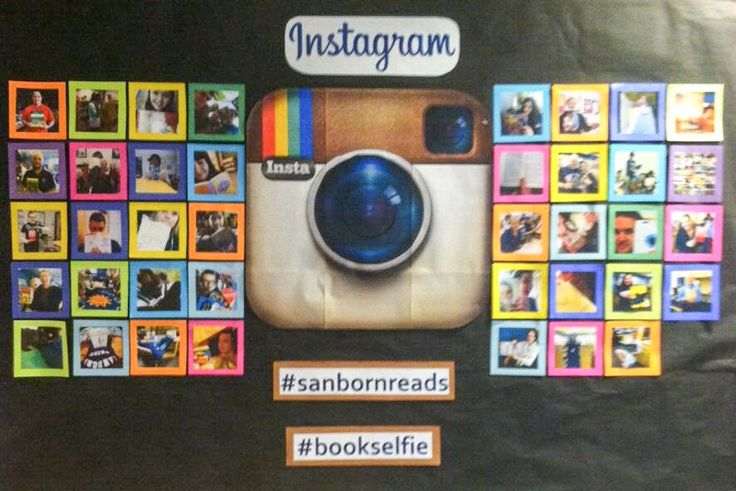 Library bulletin board. Pinner says: We asked students and faculty to share a #bookselfie with us. I printed the first 40 for the bulletin board.