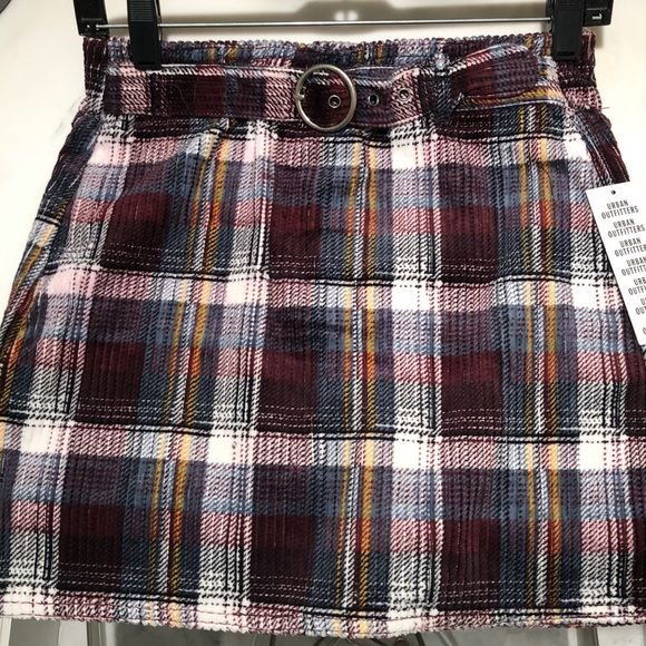 694554e651 Super cute plaid skirt red, white, yellow, and blue plaid corduroy skirt  with a buckle and zipper Urban Outfitters Skirts