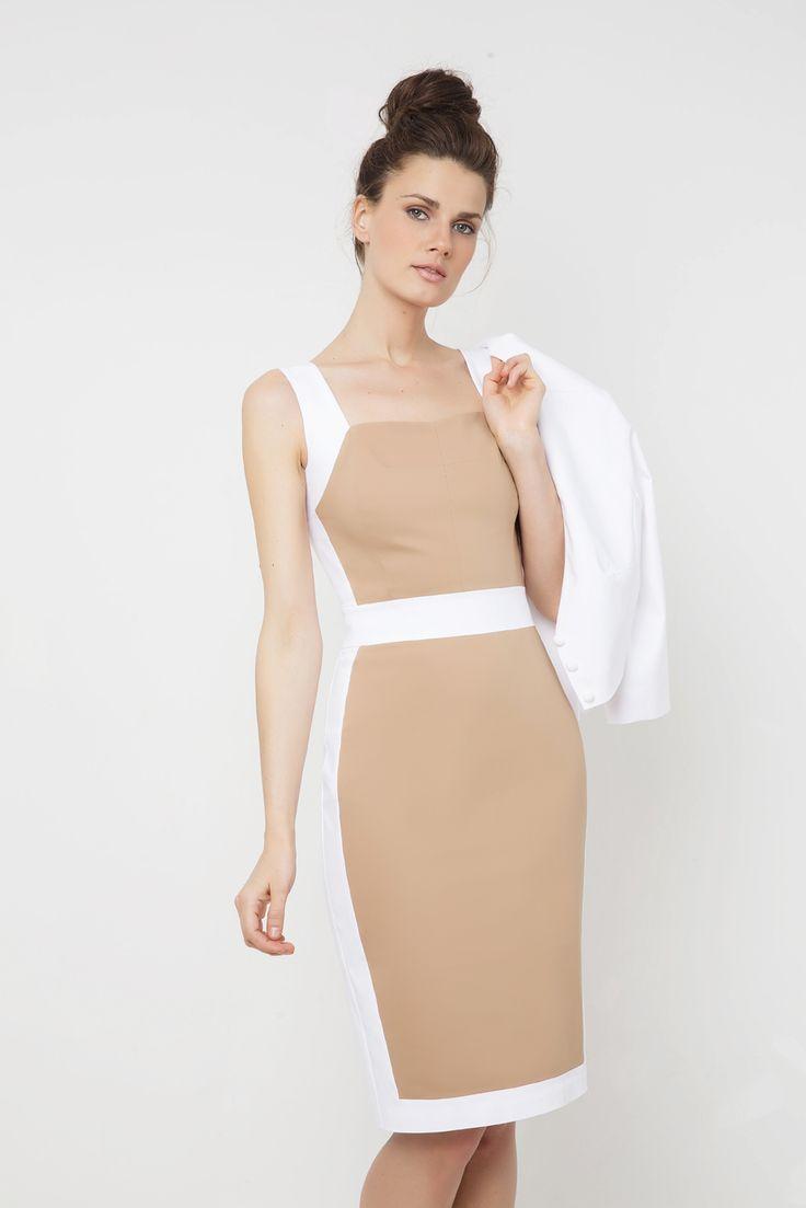 Δίχρωμο αμάνικο φόρεμα