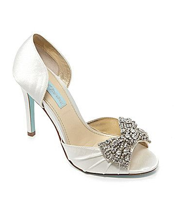 These Blue By Betsey Johnson Gown Jeweled Peep Toe Pumps Are A Perfect Something For Your Wedding We Love The Blingy Bow