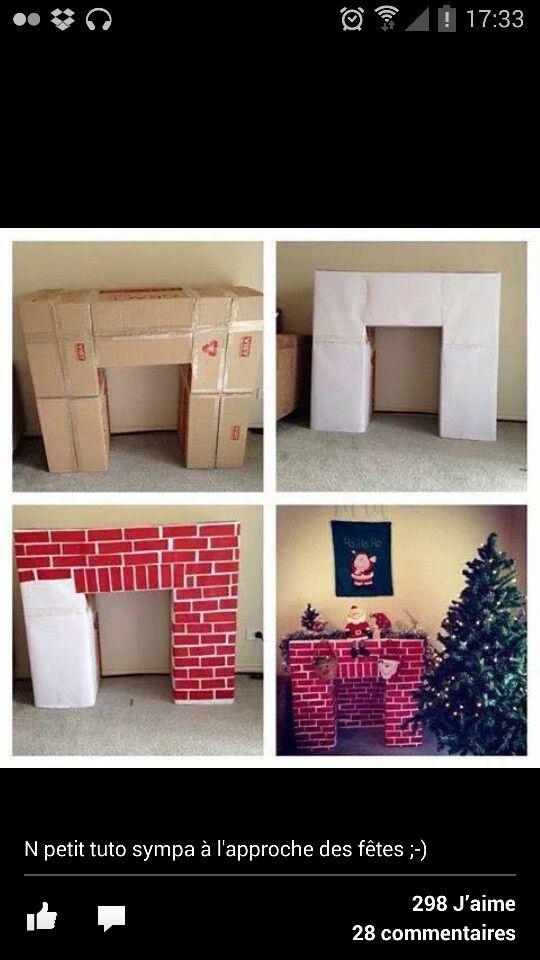 Tuto cheminee deco noel carton