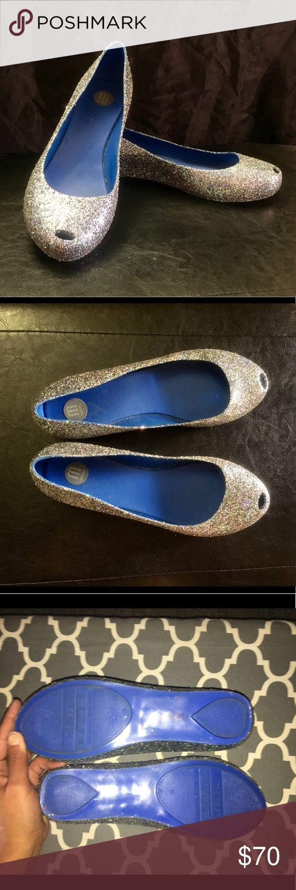 Melissa Glitter Flats w/ Peep Toe Like  Melissa brand Flats COVERED in silvery glitter. Worn Once, & in perfect condition. Made of Sturdy PVC, these shoes are also waterproof. Tiny peep hole at the top of toes. Slip-resistant. Made in Brazil Melissa Shoes Flats & Loafers