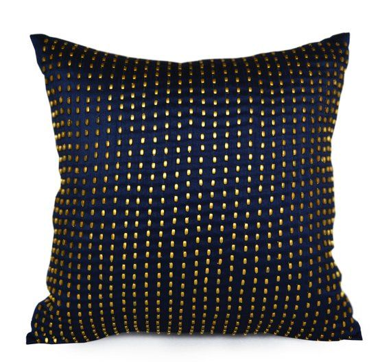 Decorative Throw Pillow Navy Gold Silk