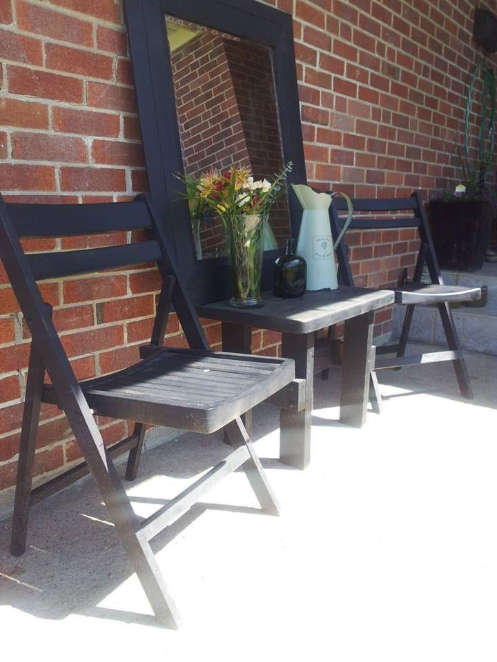 Black reclaimed out door set w mirror tlginteriors.com