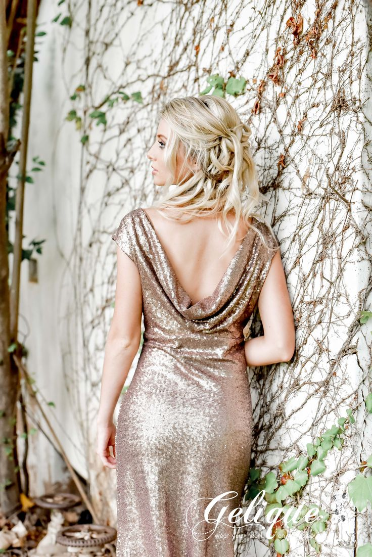 Low back sequence glitter dress. Grace design Gelique bridesmaids dress. Metallic sequence bridesmaid dress. Available in a variety of sizes and colours from Brides of Somerset. Full glitter dress with drop back. Long, knee-length or short available.