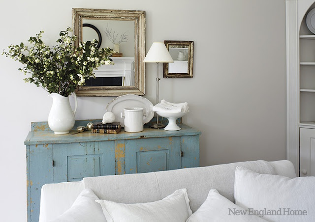 Distressed aqua...love!: Wall Colors, Paintings Furniture, Blue Cabinets, Decor Ideas, Home Magazines, Cabinets Redo, Blue Dressers, Red Cabinets, New England Home