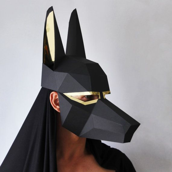 ANUBIS Mask - Easy to make Egyptian mask - Low-Poly card mask perfect for Halloween