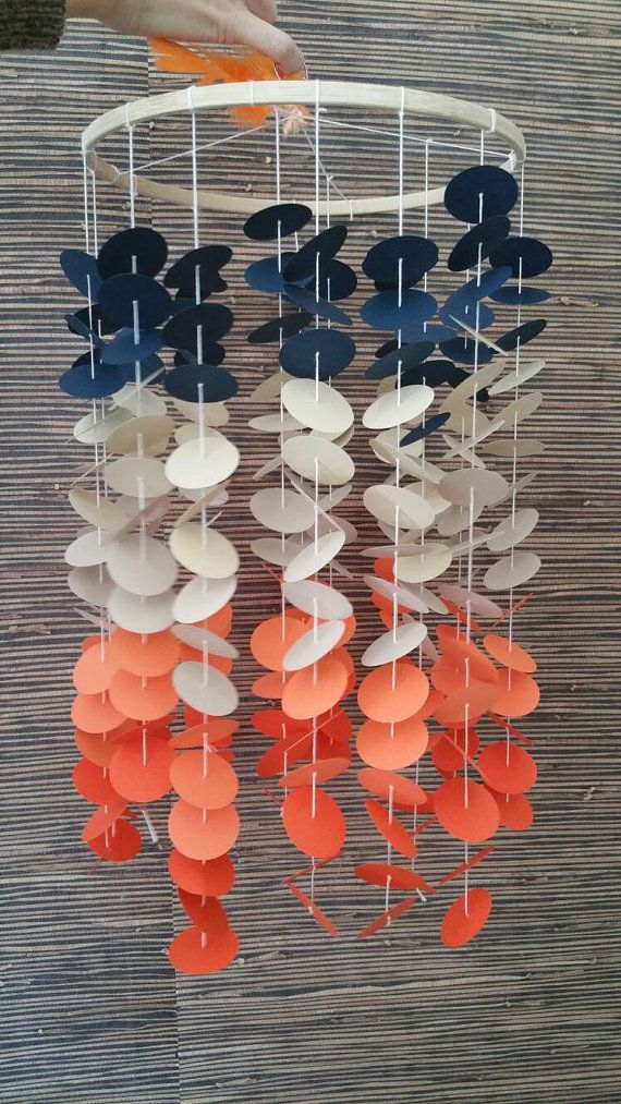 Mobile House of baby, nursery, mobile, coral, tangerine, blue marin, taupe.
