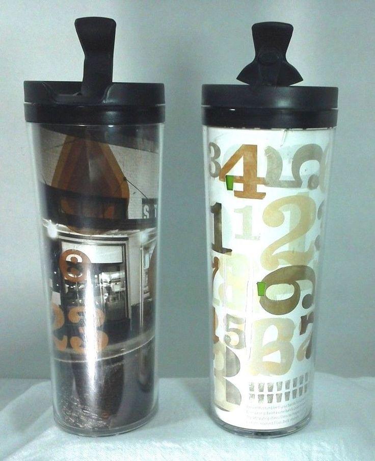 STARBUCKS Numbers Lot of two 16 oz Travel Tumbler Mugs Cups 2011 2012  Promotion #Starbucks