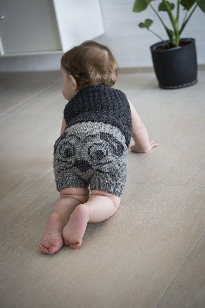 2015-4: Shorts med mus på numsen. Gratis strikkeopskrift i Mayflower Easy Care Classic. [Strikkeopskrift, Garn, Pattern, Knitting, Spring/Summer collection 2016]