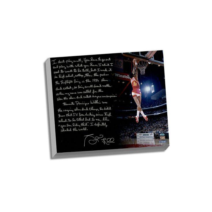 "Steiner Sports Atlanta Hawks Spud Webb Slam Dunk Contest Facsimile 22"" x 26"" Stretched Story Canvas, Multicolor"