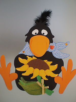 Fensterbild  Rabe mit Sonnenblume -Herbst- Dekoration - Tonkarton!
