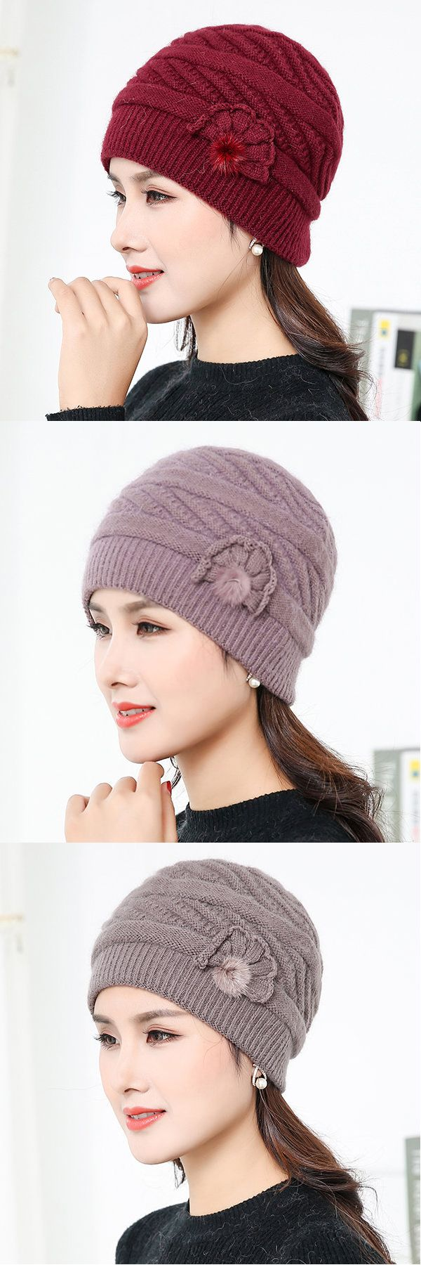 Women Elegant Knitted Rabbit Fur Hats Winter Thicken Double Layer Casual Blend Beanies Cap