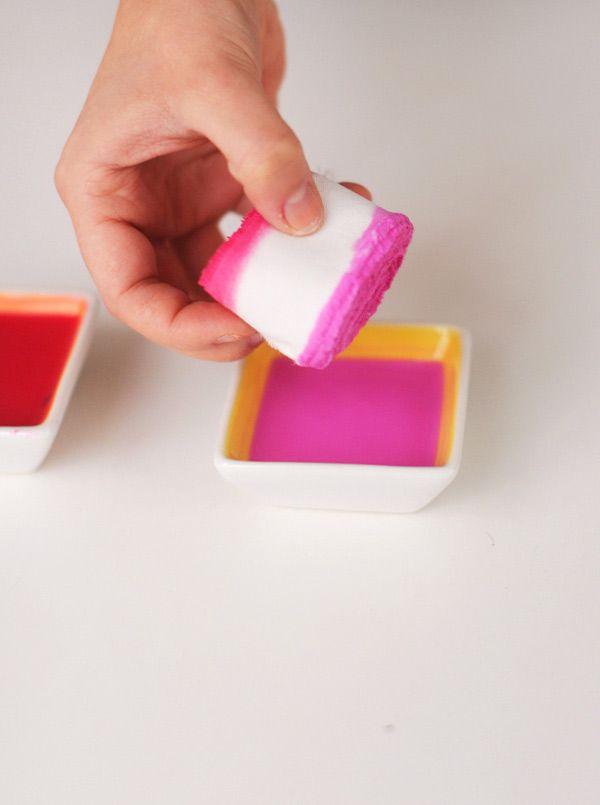 diy dip-dye ribbons. by heylook for ruffled blog.