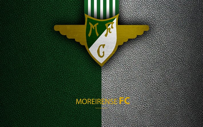 Download wallpapers Moreirense FC, 4K, leather texture, Liga NOS, Primeira Liga, emblem, Moreirense logo, Moreira de Conugus, Portugal, football, Portugal Football Championships