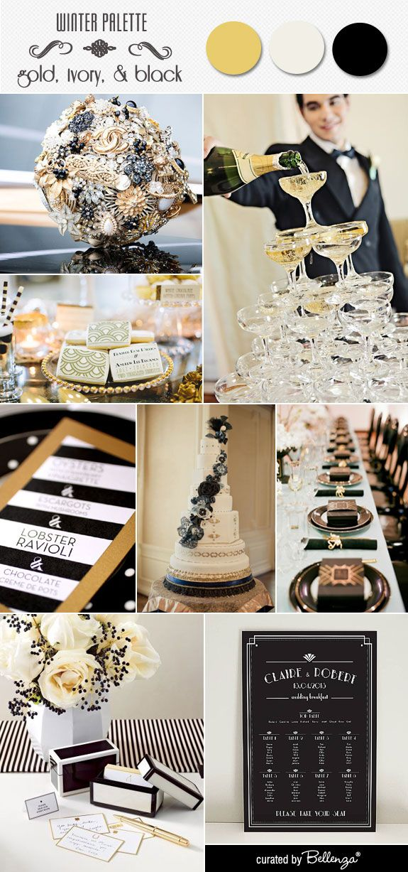 An art deco wedding in glamorous black and gold with a champagne tower, an ornate wedding cake, black menu cards, and iced favor cookies.