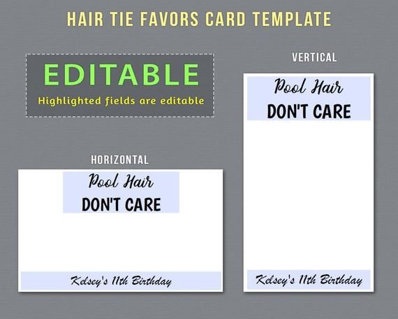 Editable Hair Tie Favors Card Template To Have And To Hold Etsy In 2020 Card Template Tie Template Hair Ties