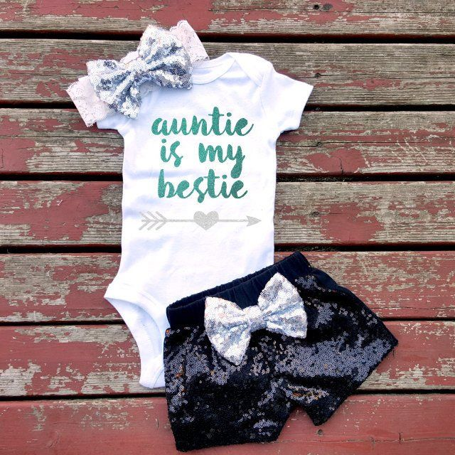 Auntie Is My Bestie Bodysuit, Baby Girl, Girls, Newborn, Toddler, Auntie, Aunty, Newborn, New Baby, Niece, Nephew, Love, Sparkle