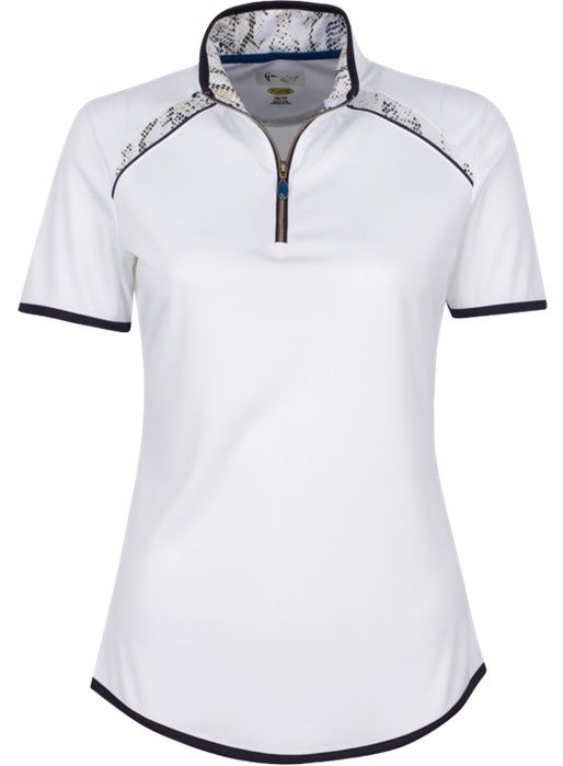 Skins Game (White) Greg Norman Ladies ML75 Short Sleeve Zip Color Blocked Golf Polo Shirt. Find the best ladies ouftis at #lorisgolfshoppe